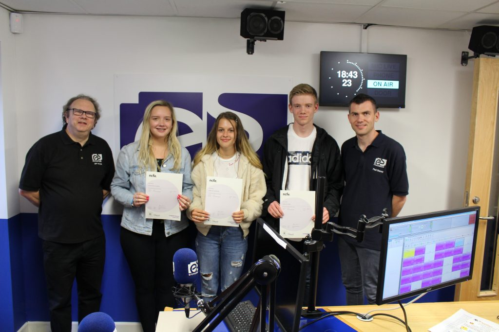 3 Students presented with their NCFE awards in the Erewash Sound studio